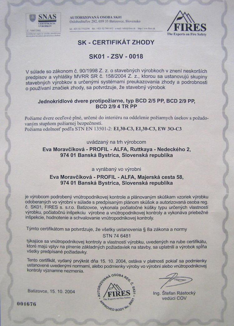 Naše certifikáty